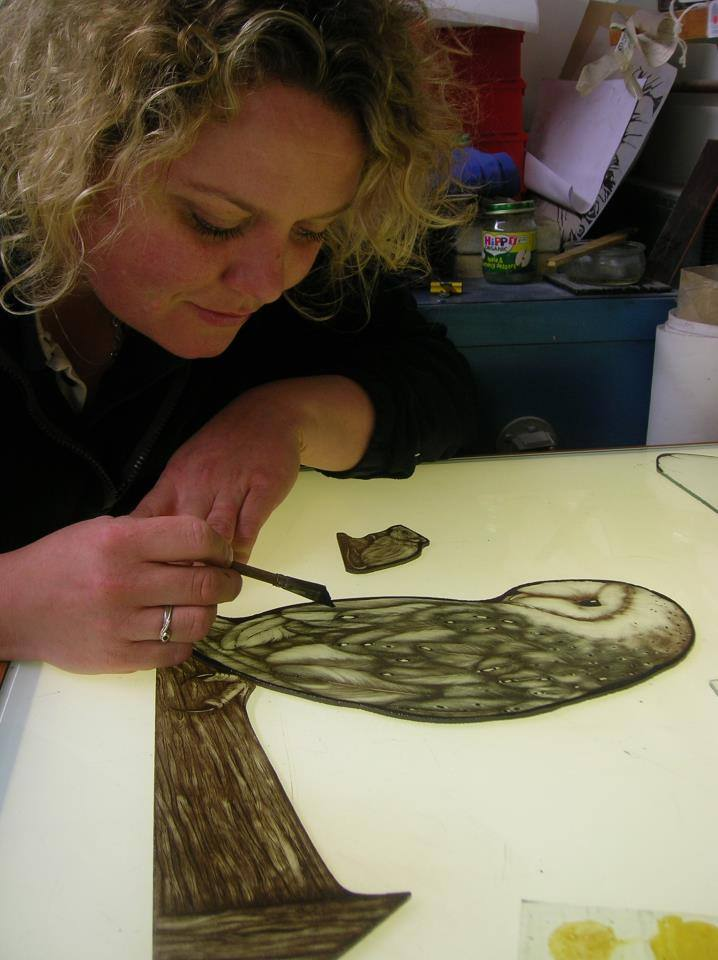 Daniella Wilson painting stained glass owl