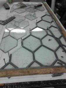 stained glass being restored