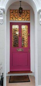 Leaf design in front door of home