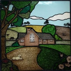 stained glass panel country house in field with dog under tree
