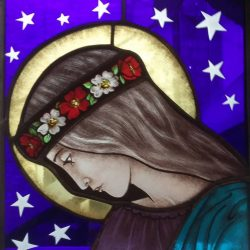 stained glass portrait side view of young Saint Cecilia starry night background