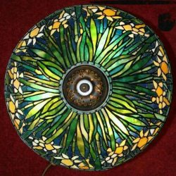 stained glass lampshade daffodils emerging from center